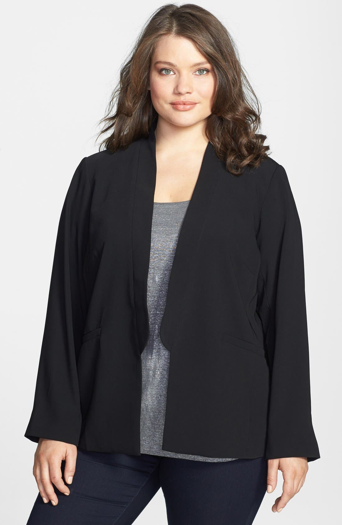 Alternate Image 1 Selected - Eileen Fisher Stand Collar Jacket (Plus Size)