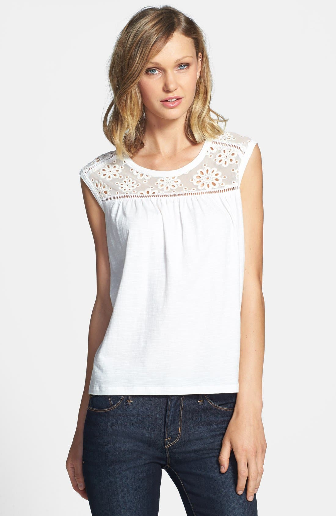 Main Image - Two by Vince Camuto Eyelet Mesh Top