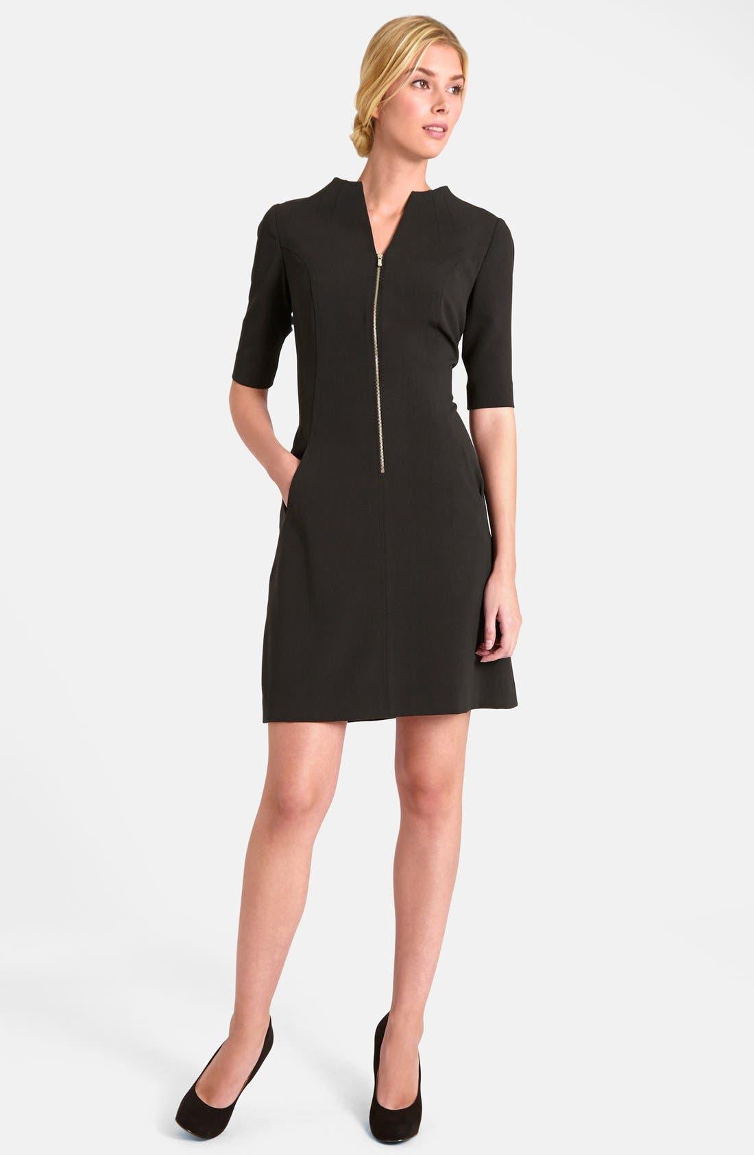 Alternate Image 3  - Tahari Elbow Sleeve Front Zip Sheath Dress
