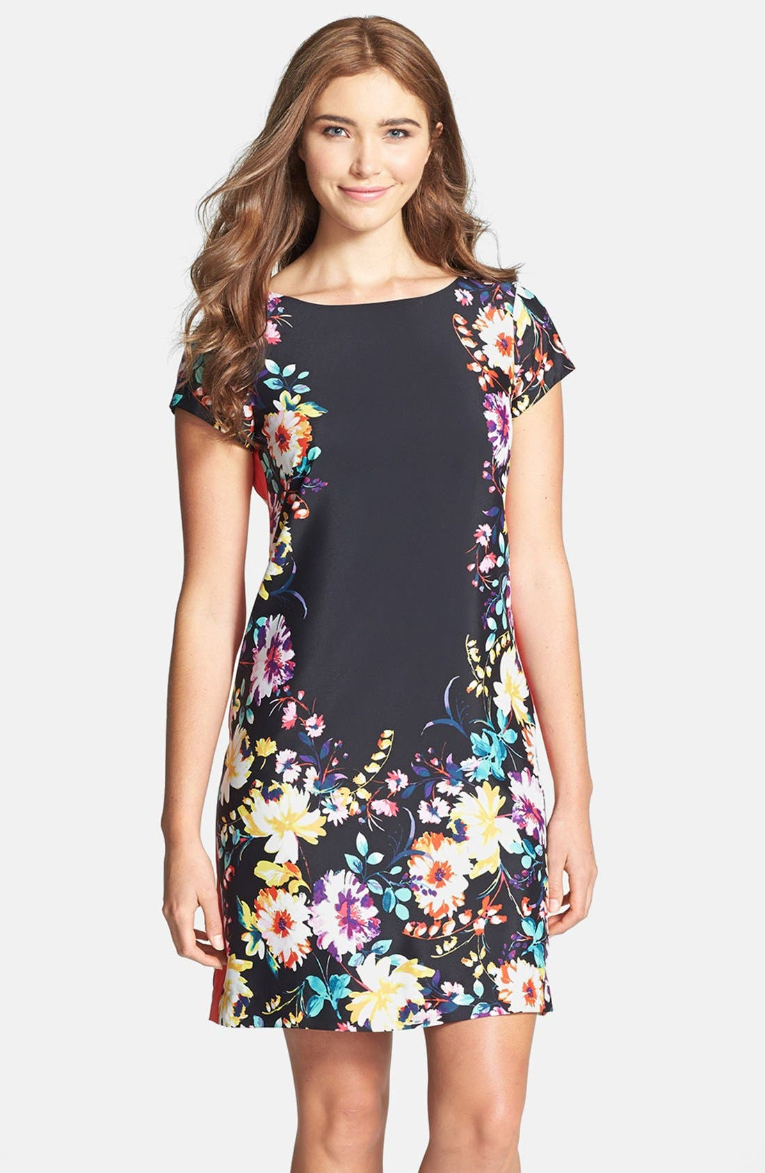 Main Image - Eliza J Floral Print Shift Dress (Regular & Petite)