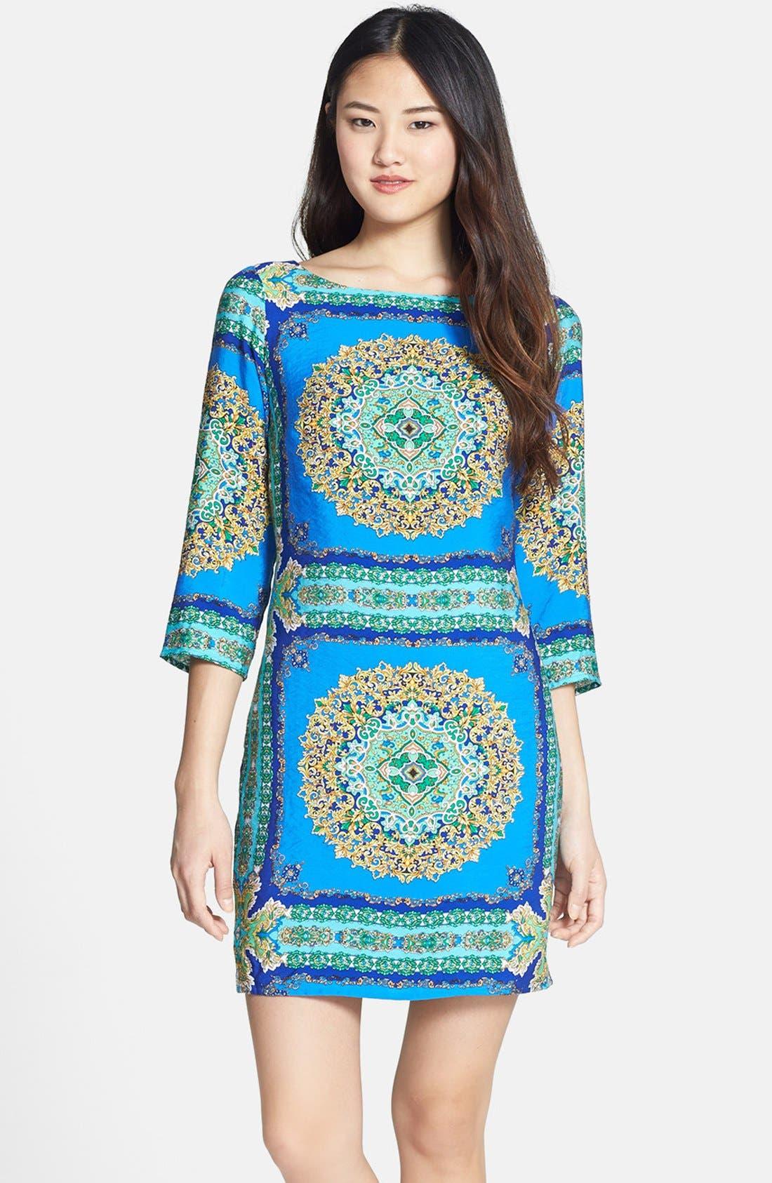Main Image - Laundry by Shelli Segal Print Jersey Shift Dress (Regular & Petite)