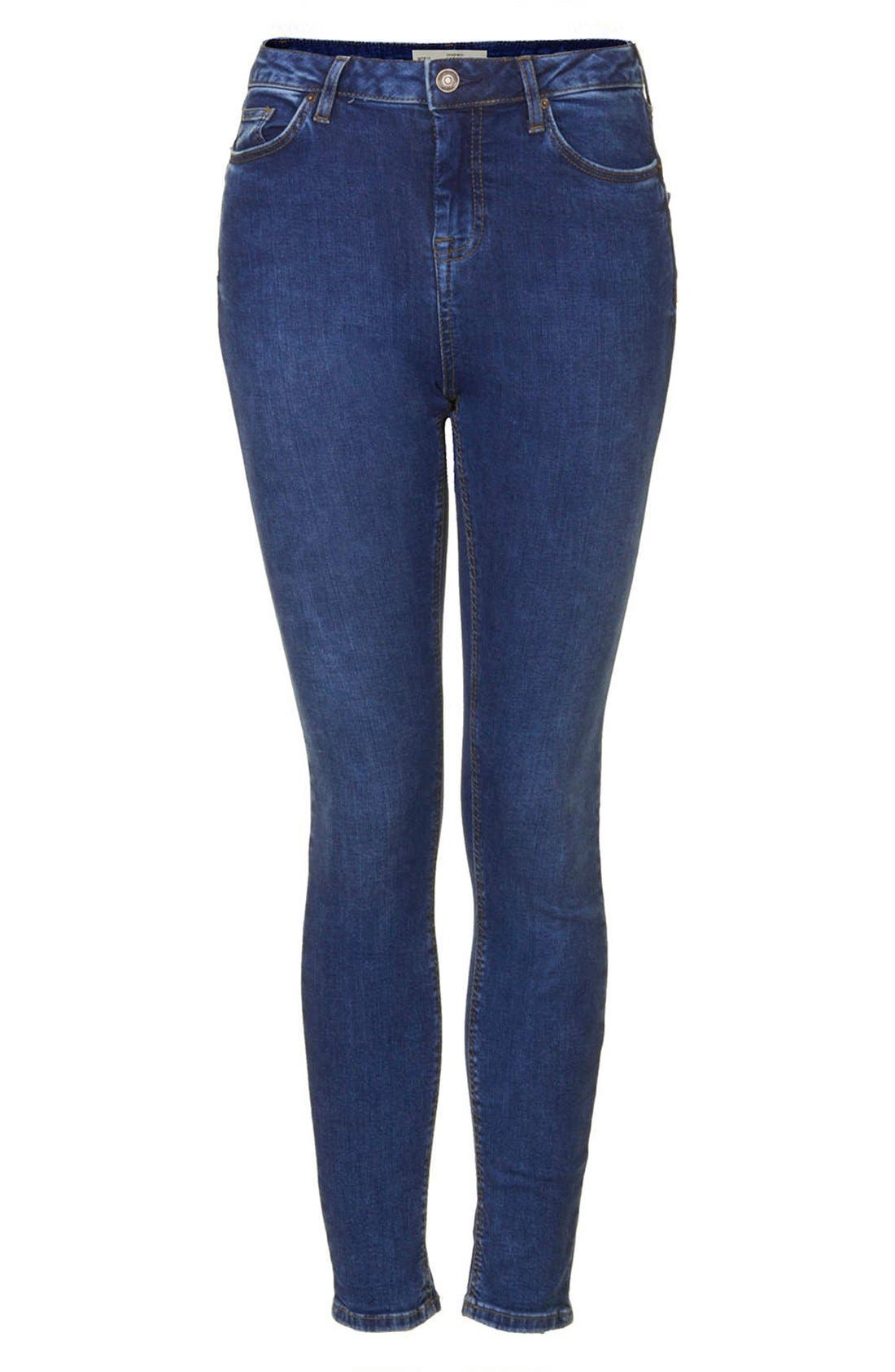 Alternate Image 3  - Topshop Moto 'Jamie' High Rise Skinny Ankle Jeans (Blue) (Regular & Short)