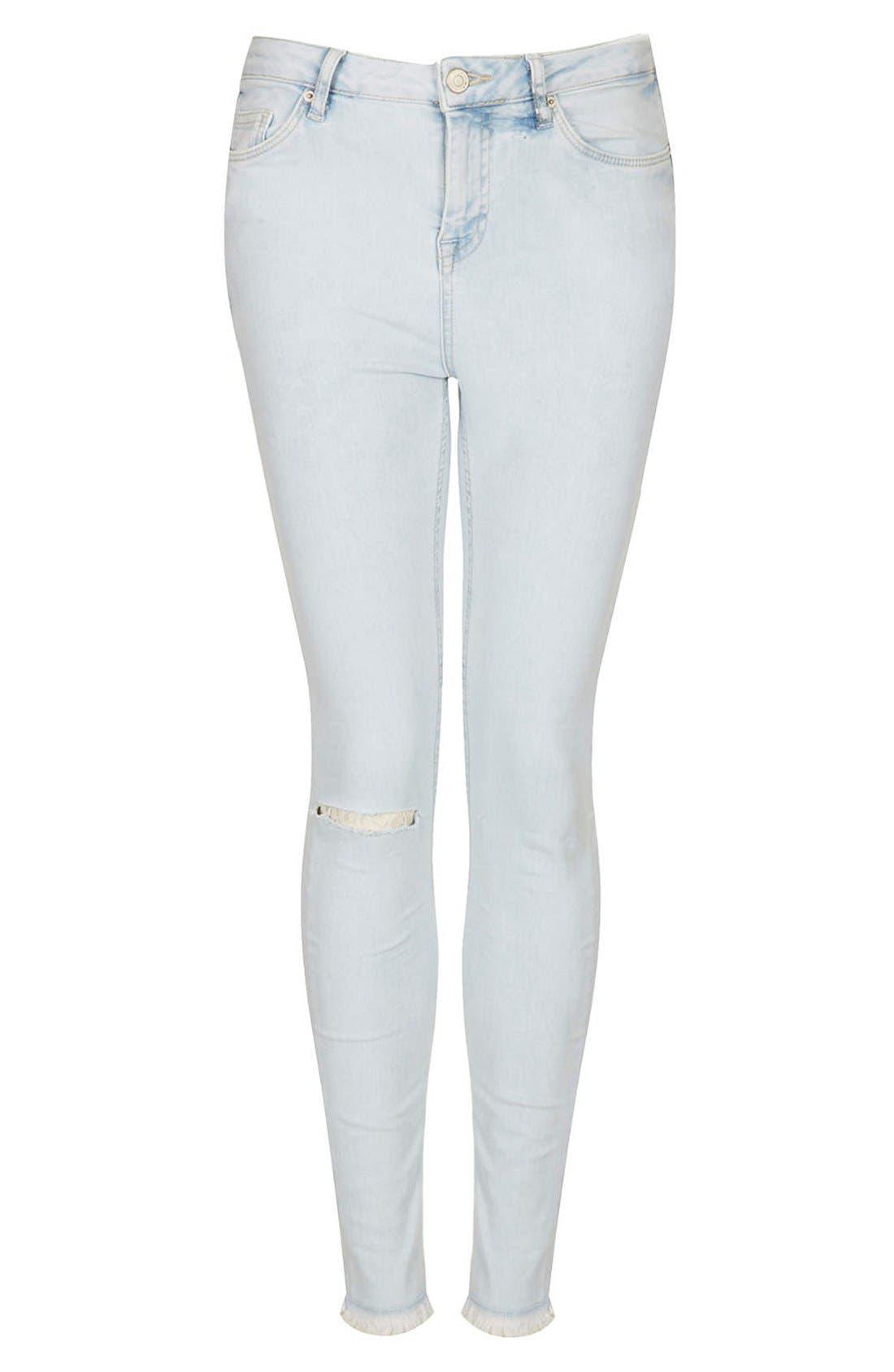 Alternate Image 3  - Topshop Moto 'Jamie' High Rise Skinny Jeans (Light Blue) (Regular & Short)