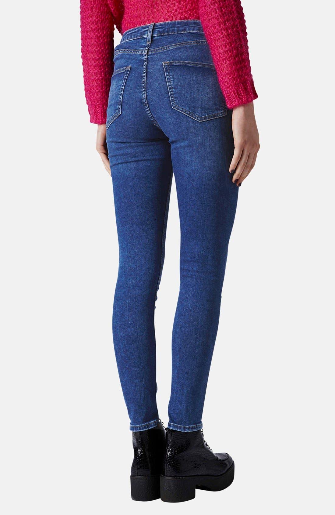 Alternate Image 2  - Topshop Moto 'Jamie' High Rise Skinny Ankle Jeans (Blue) (Regular & Short)