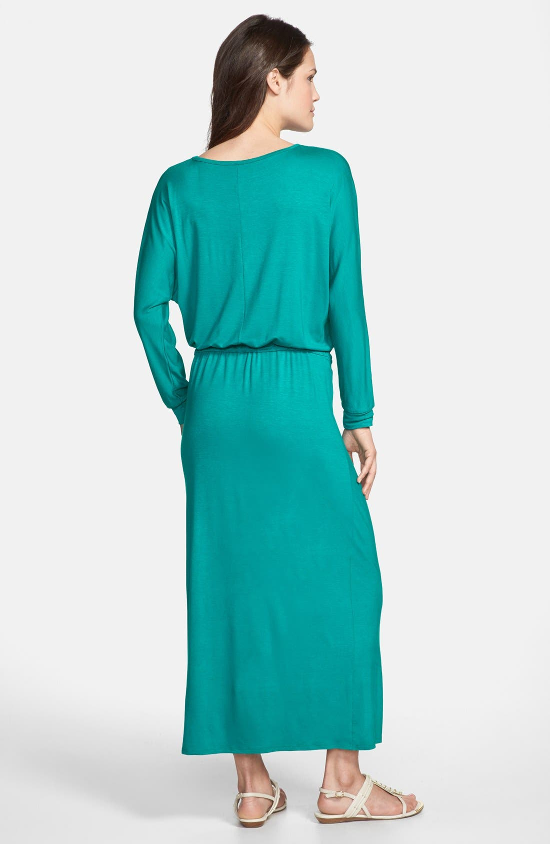 Alternate Image 2  - Loveappella Tie Waist Maxi Dress