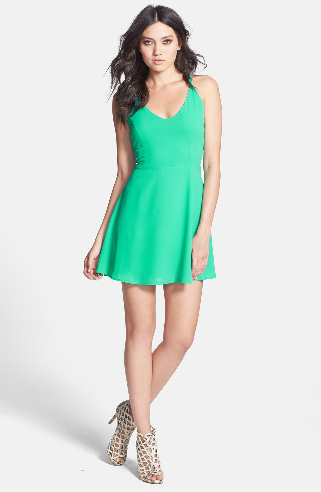 Main Image - Glamorous V-Back Chiffon Skater Dress