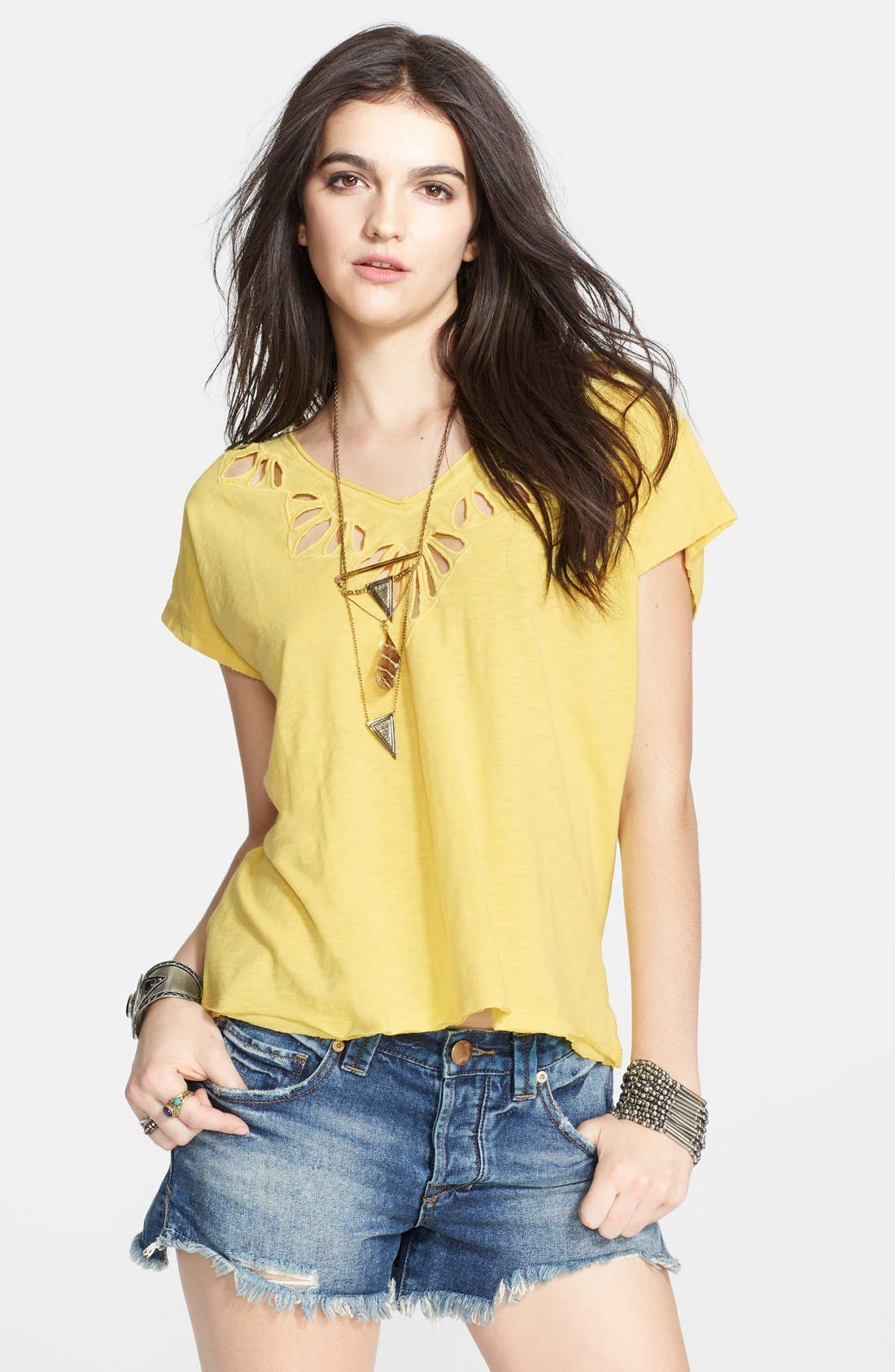 Main Image - Free People Cutout Double V-Neck Tee