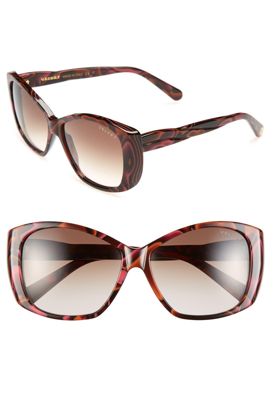 Alternate Image 1 Selected - Velvet Eyewear 'Lucy' 56mm Butterfly Sunglasses