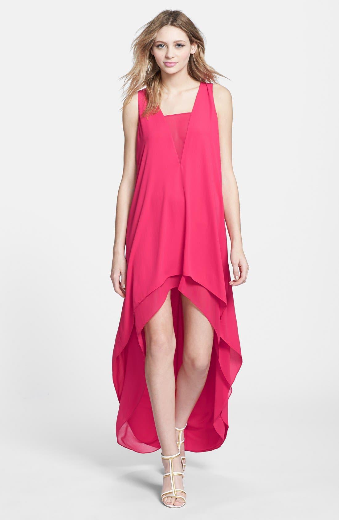 Alternate Image 1 Selected - BCBGMAXAZRIA 'Ivana' High/Low Georgette Dress