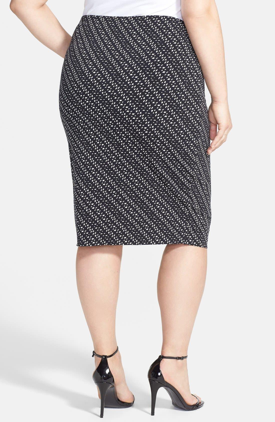 Alternate Image 2  - Vince Camuto 'Graphic Specks' Raw Edge Hem Midi Tube Skirt (Plus Size)