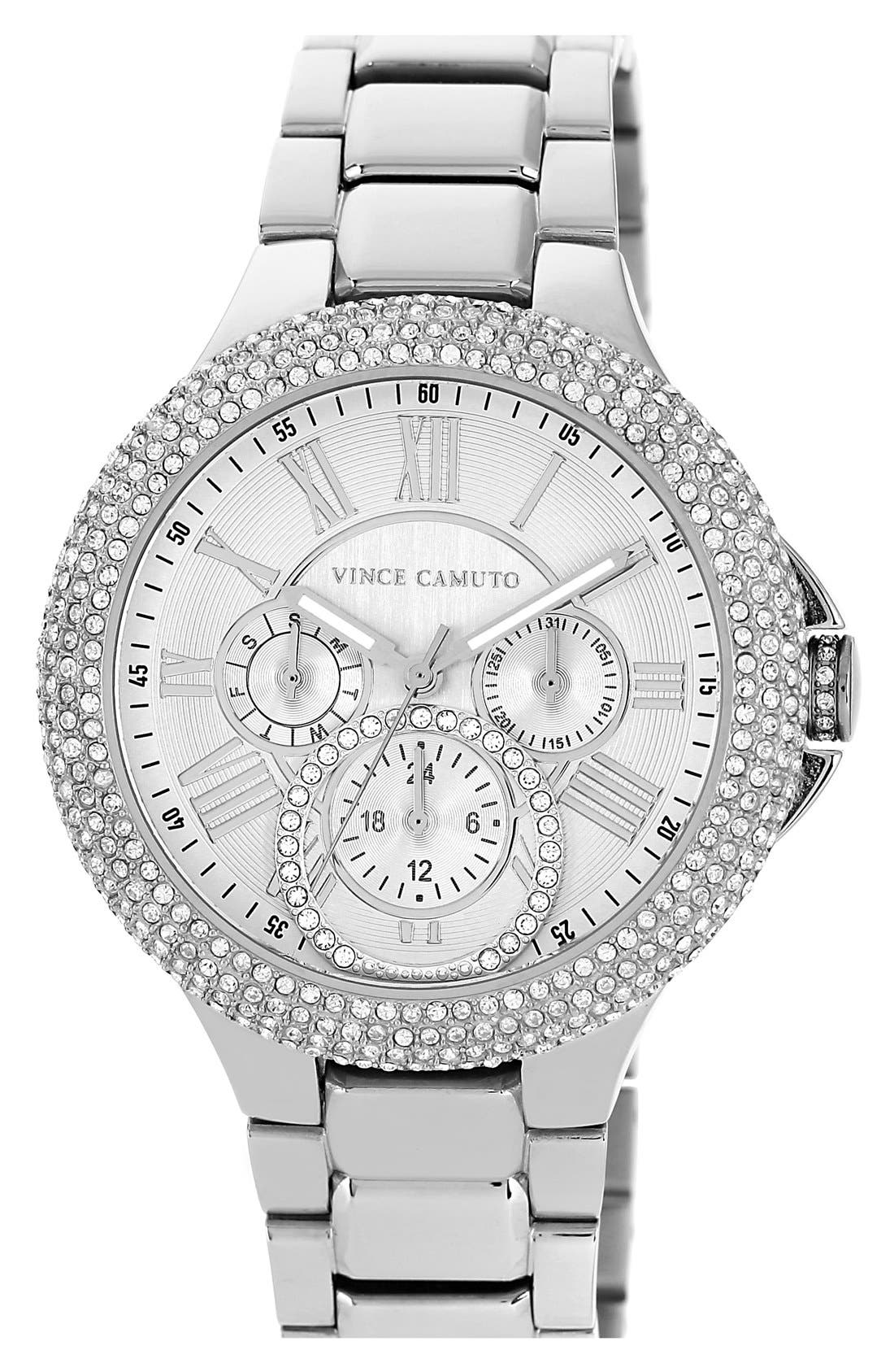 Alternate Image 1 Selected - Vince Camuto Crystal Bezel Multifunction Bracelet Watch, 42mm