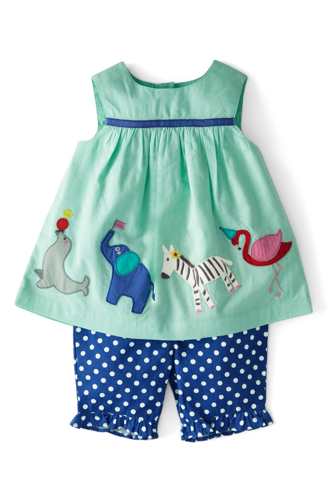 Alternate Image 1 Selected - Mini Boden 'Summer Play Set' Embroidered Appliqué Top & Crop Pants (Baby Girls)