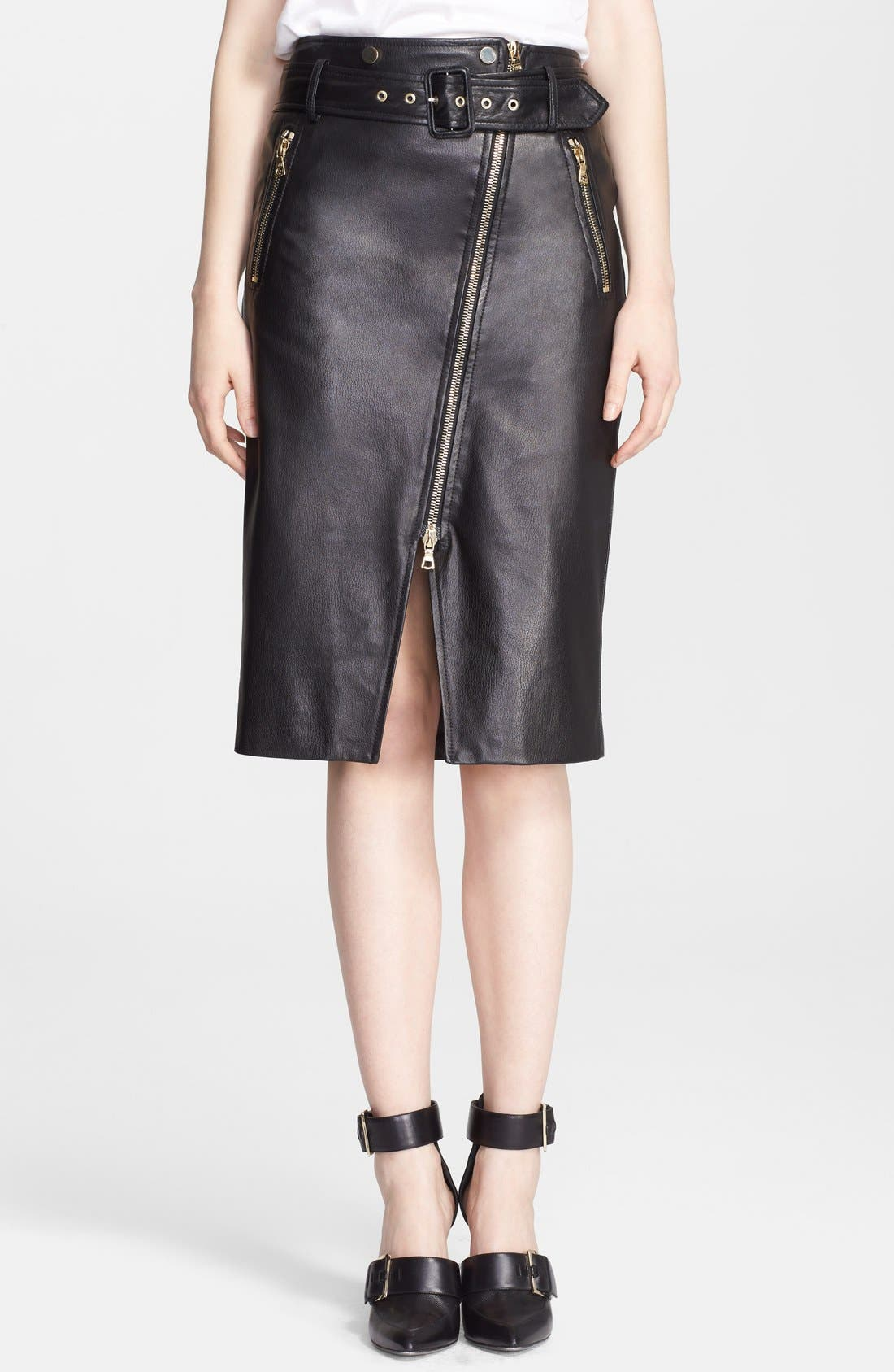 Alternate Image 1 Selected - Jason Wu Zip Detail Leather Skirt