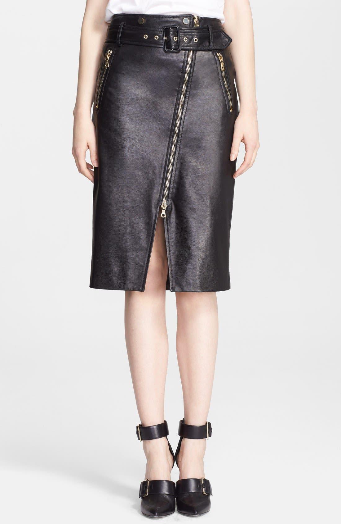 Main Image - Jason Wu Zip Detail Leather Skirt