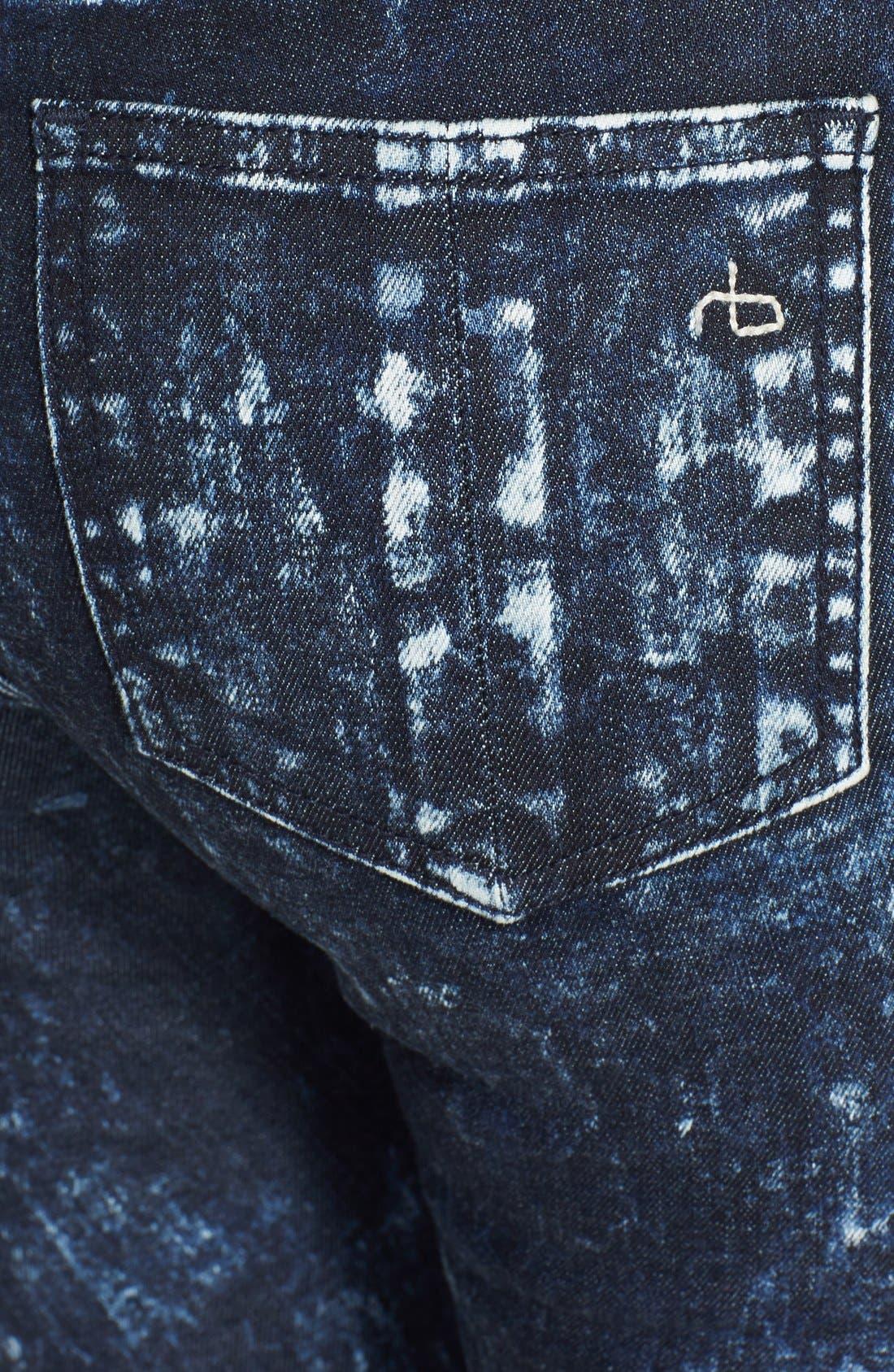 Alternate Image 3  - rag & bone/JEAN Stretch Skinny Jeans (Acid Wash/Black/White)