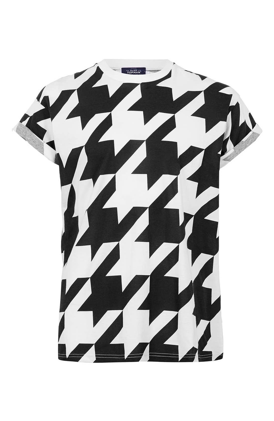 Main Image - Topman Houndstooth Print T-Shirt