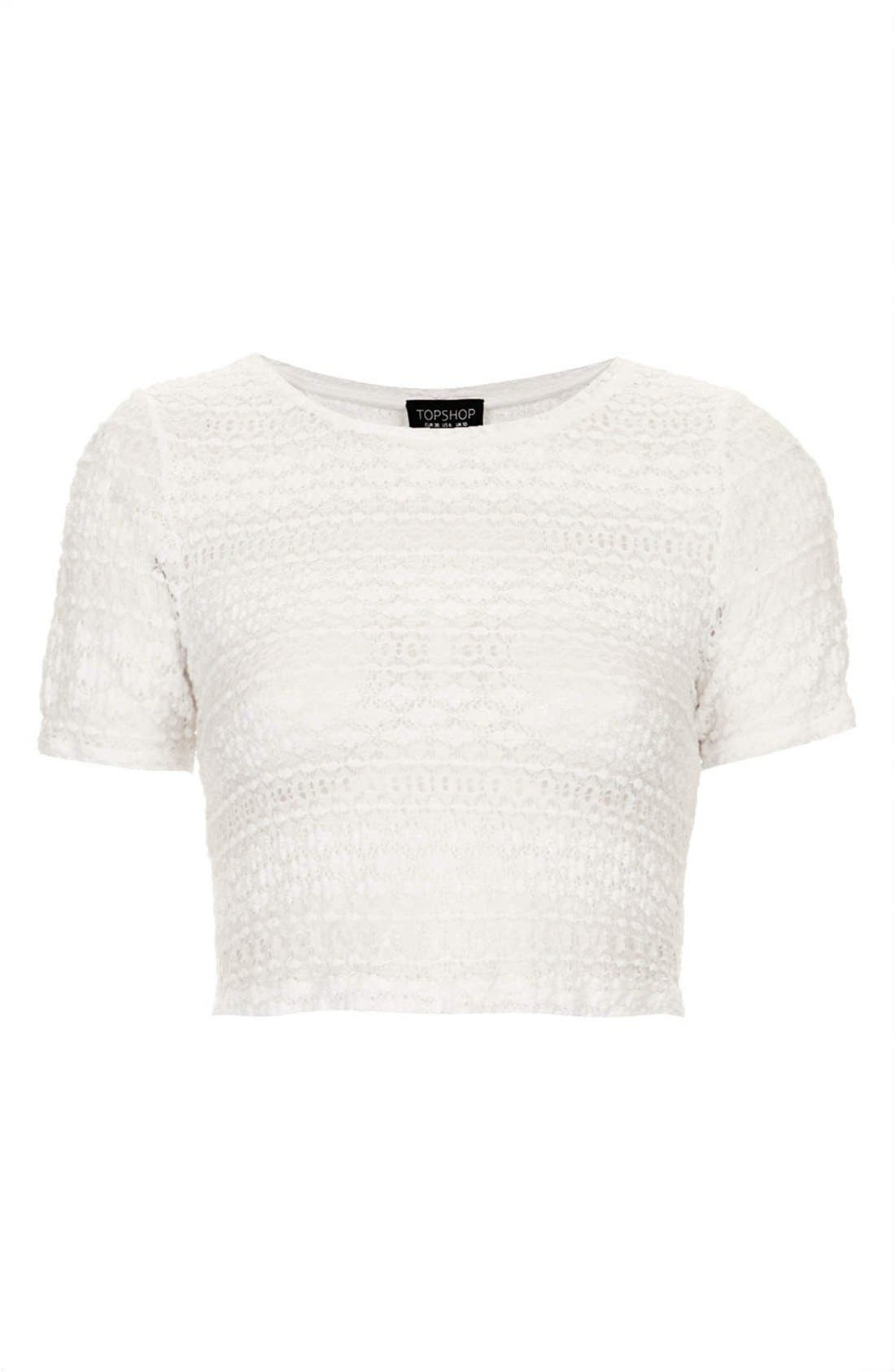 Alternate Image 3  - Topshop Textured Lace Crop Tee (Regular & Petite)