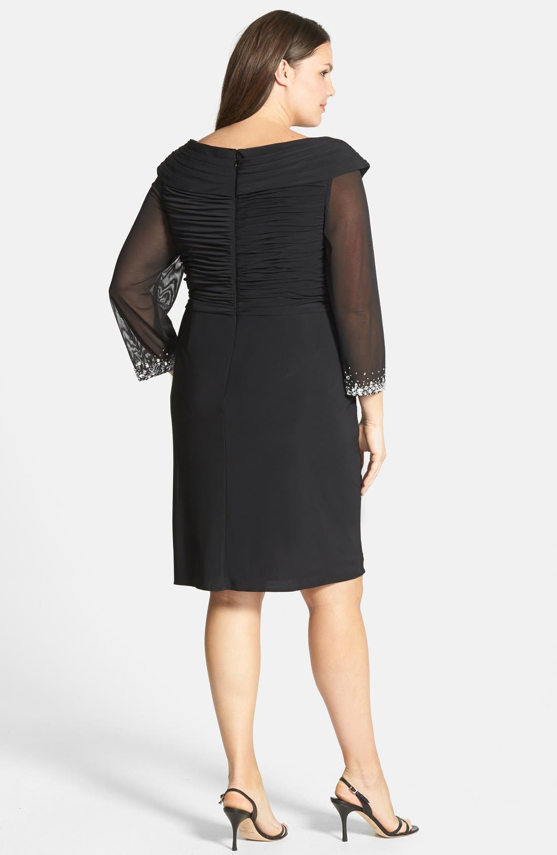 Alternate Image 2  - Alex Evenings Embellished Portrait Collar Cocktail Dress (Plus Size)