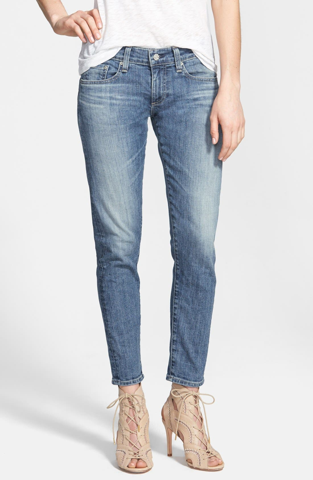 Alternate Image 1 Selected - AG 'Nikki' Relaxed Skinny Crop Jeans (18 Year Enchant)
