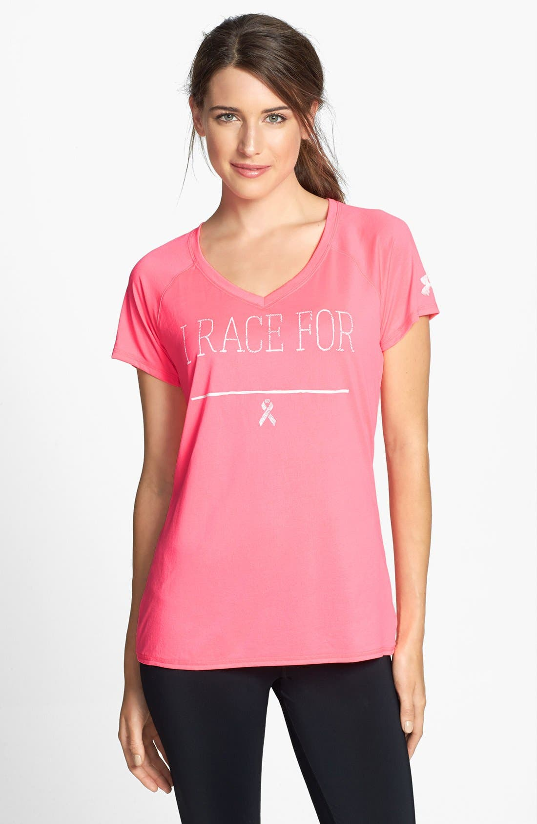 Alternate Image 1 Selected - Under Armour 'I Race For' Power in Pink® Tee