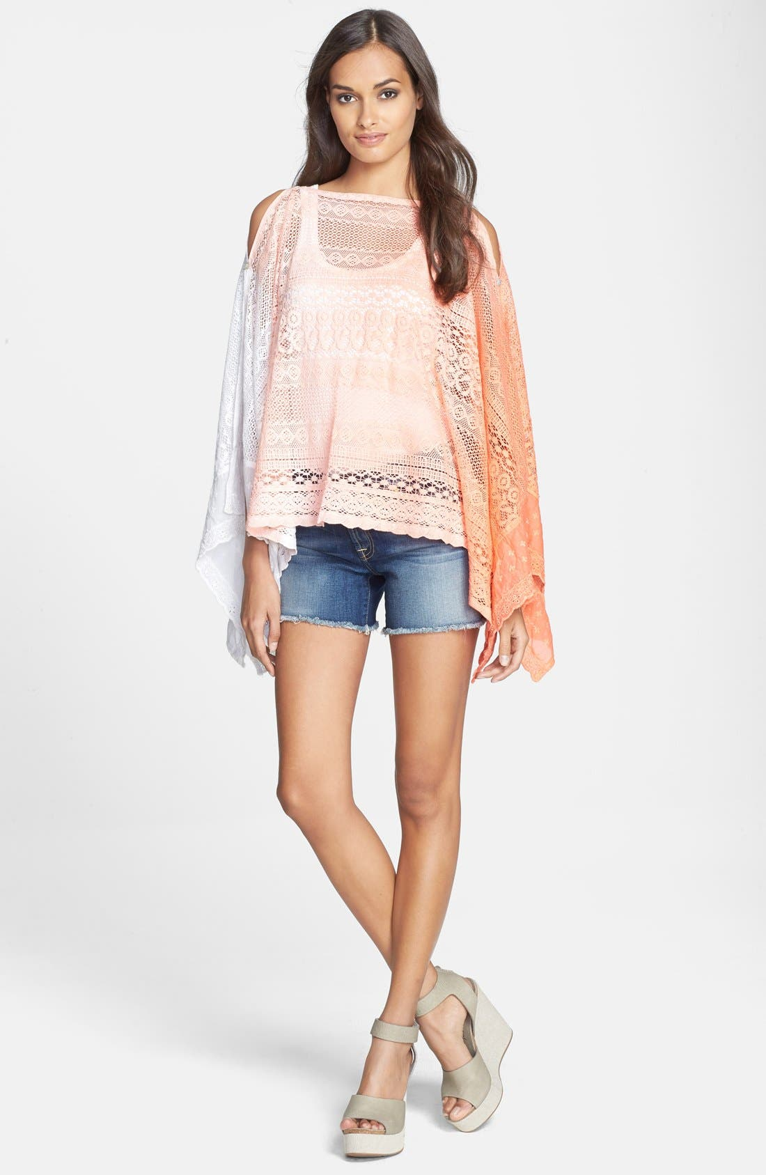 Main Image - Sol & Mer Ombré Crochet Scarf Cover-Up