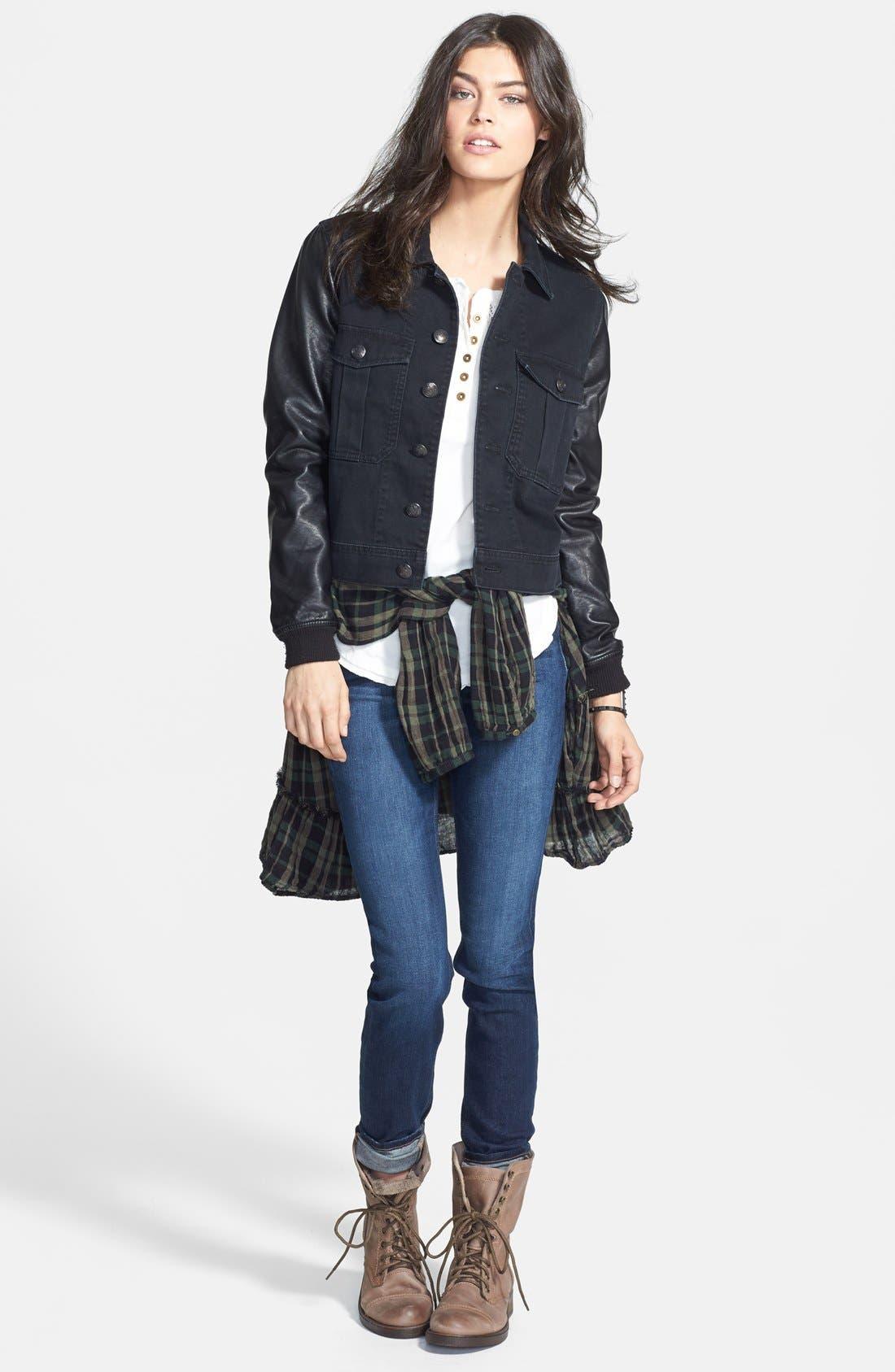 Alternate Image 4  - Free People Faux Leather Sleeve Denim Jacket (Nordstrom Exclusive)