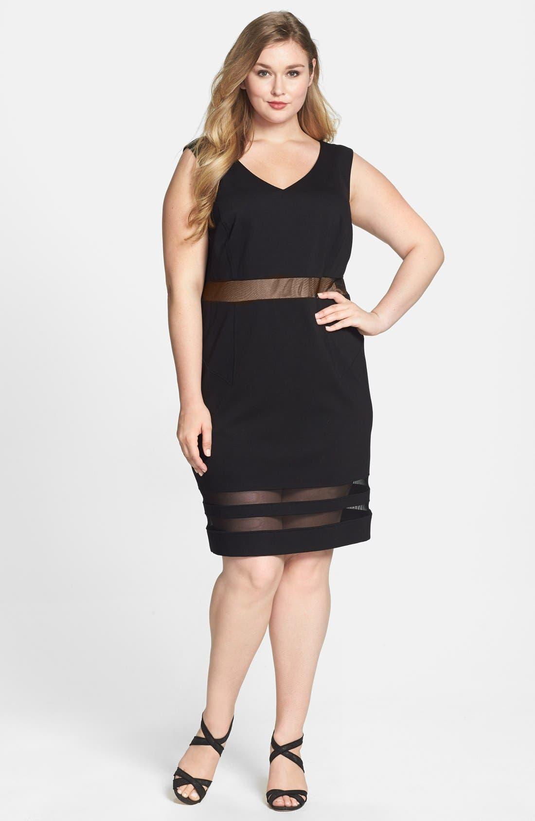 Main Image - ABS by Allen Schwartz Illusion Stripe V-Neck Dress (Plus Size)