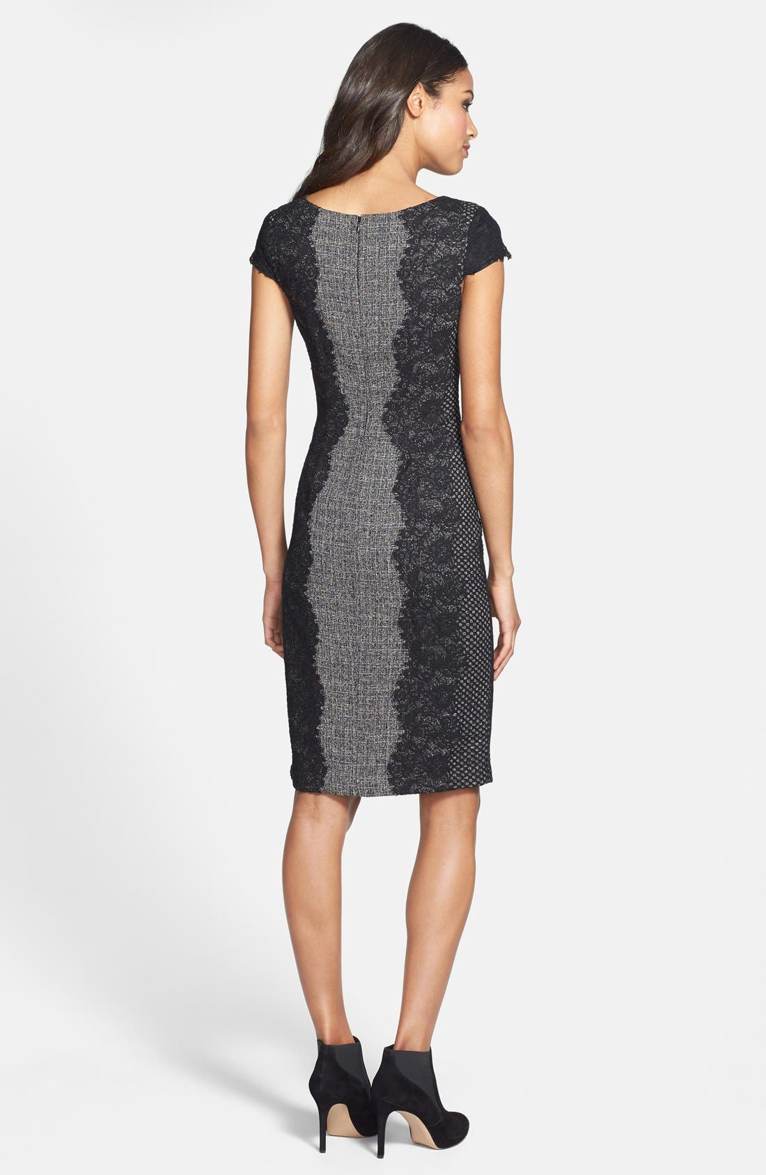 Alternate Image 2  - Betsey Johnson Lace Trim Tweed Sheath Dress