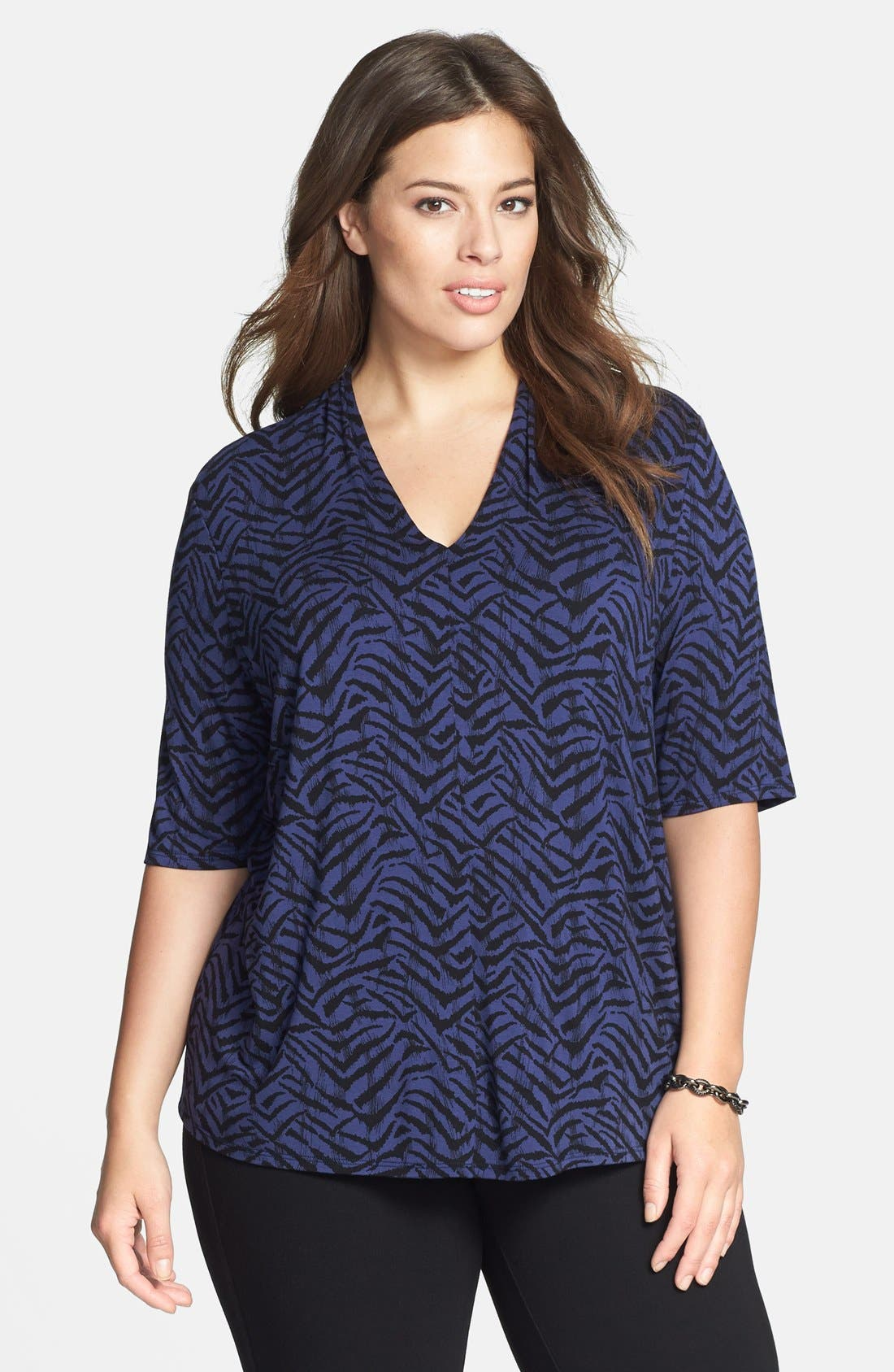 Alternate Image 1 Selected - Sejour Elbow Sleeve V-Neck Jersey Top (Plus Size)