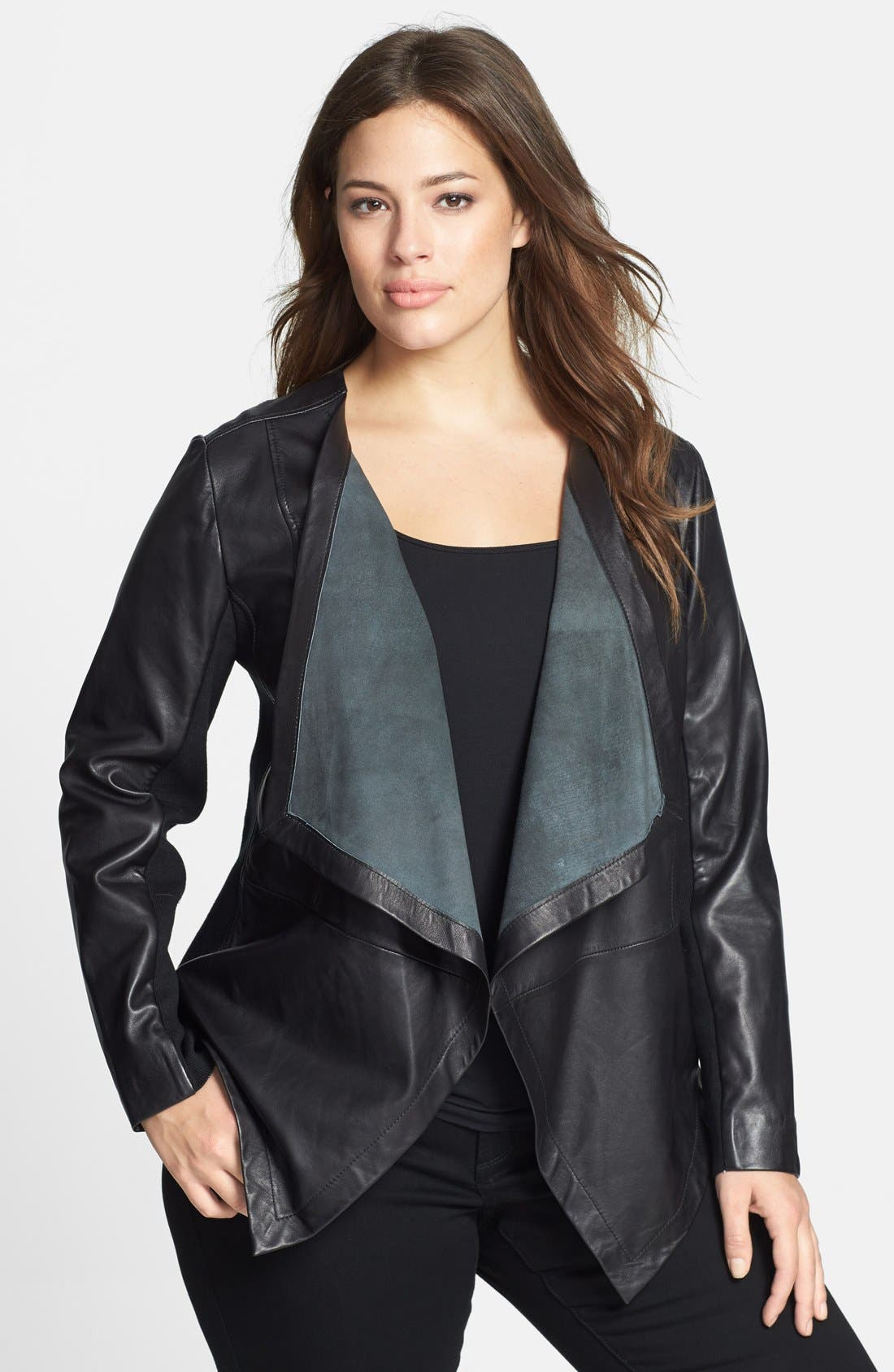 Main Image - Sejour Waterfall Front Leather Jacket (Plus Size)