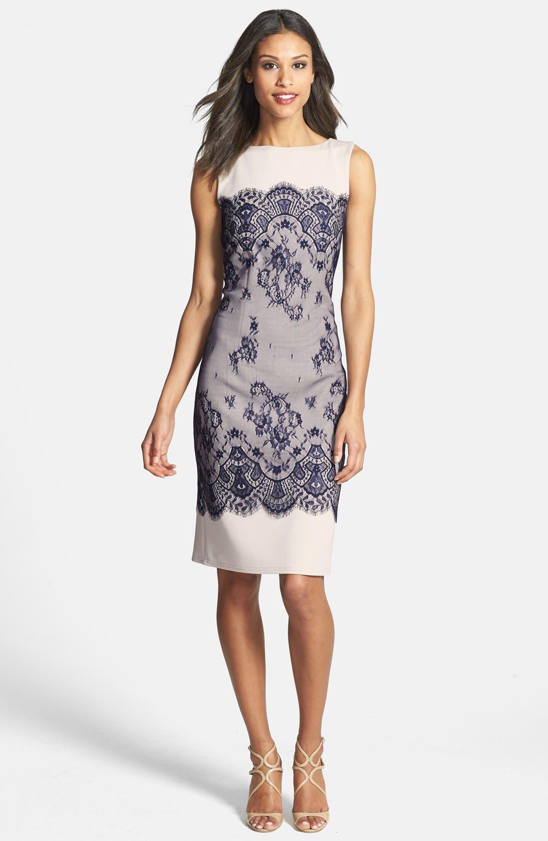 Alternate Image 1 Selected - Tadashi Shoji Lace Overlay Sheath Dress
