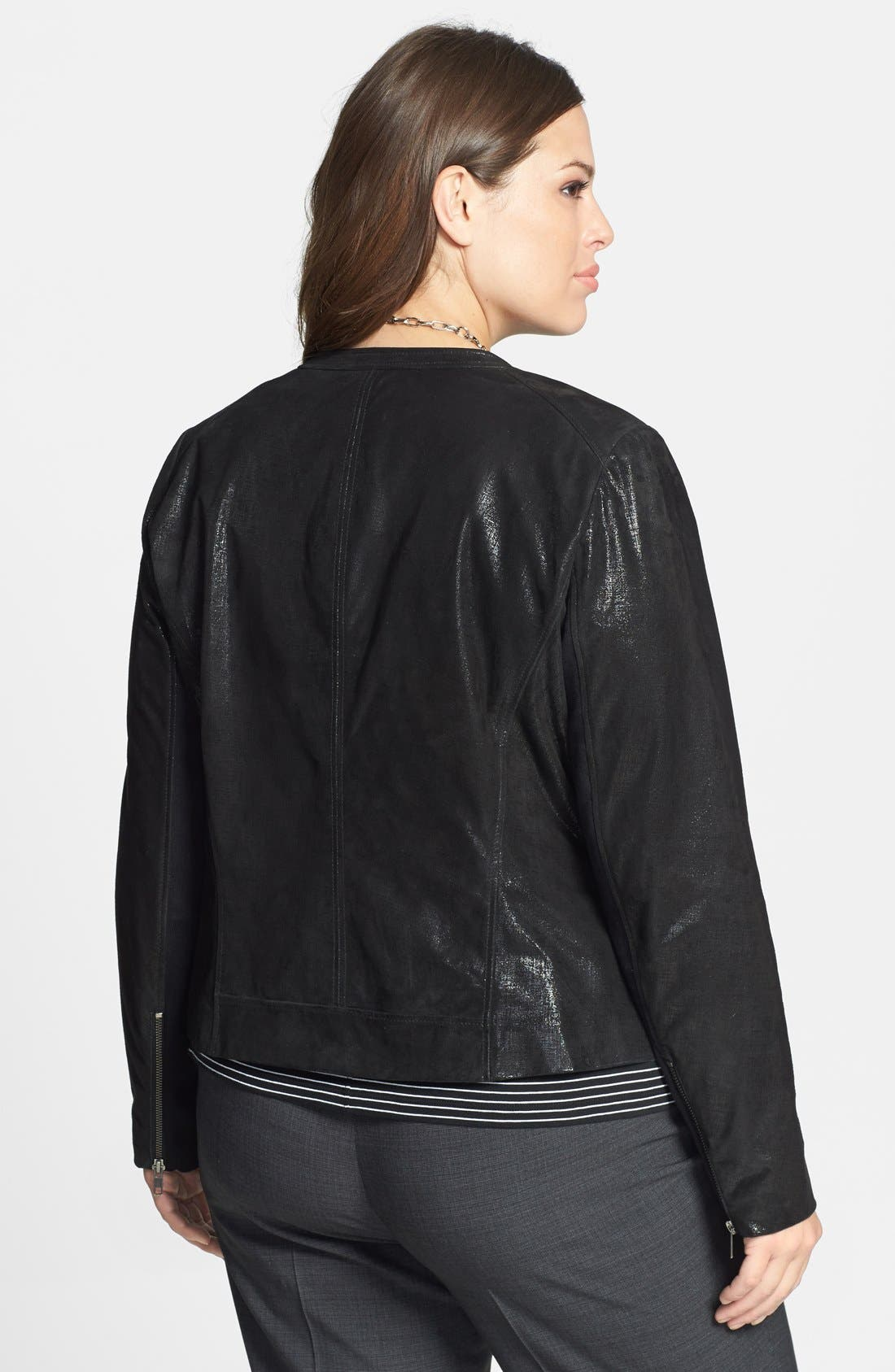 Alternate Image 2  - Halogen® Front Zip Leather Jacket (Plus Size) (Online Only)
