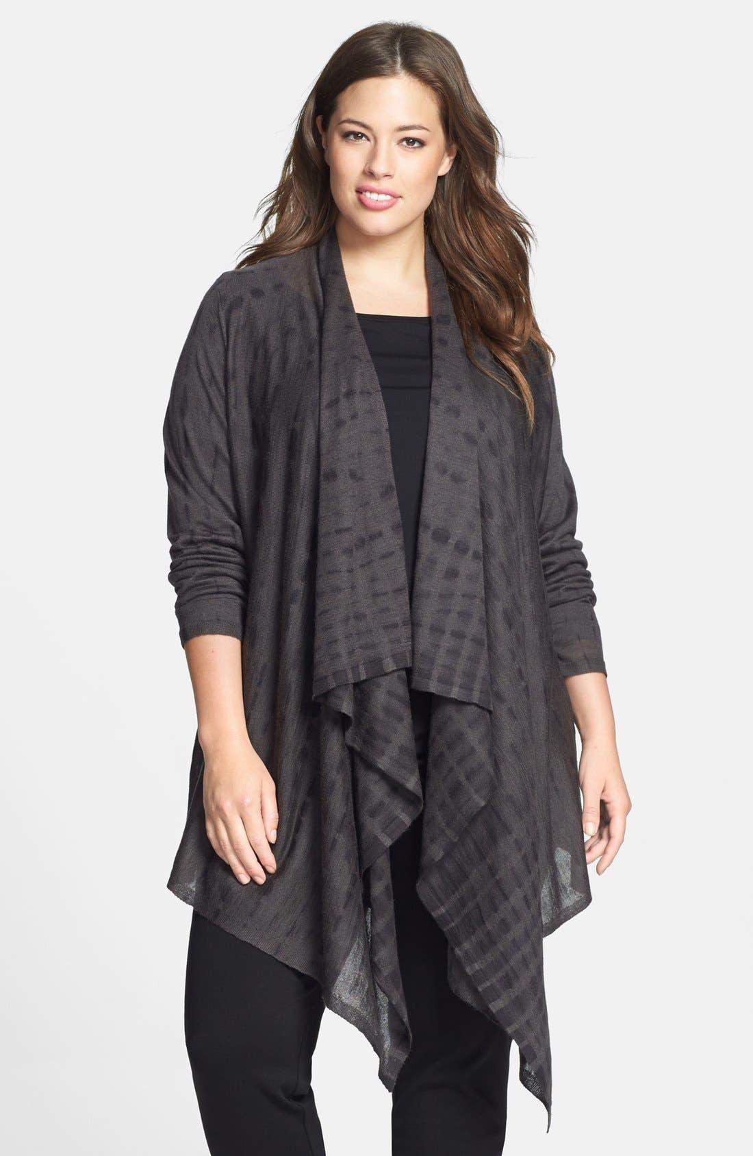 Alternate Image 1 Selected - Eileen Fisher Tie Dye Alpaca & Silk Cardigan (Plus Size)