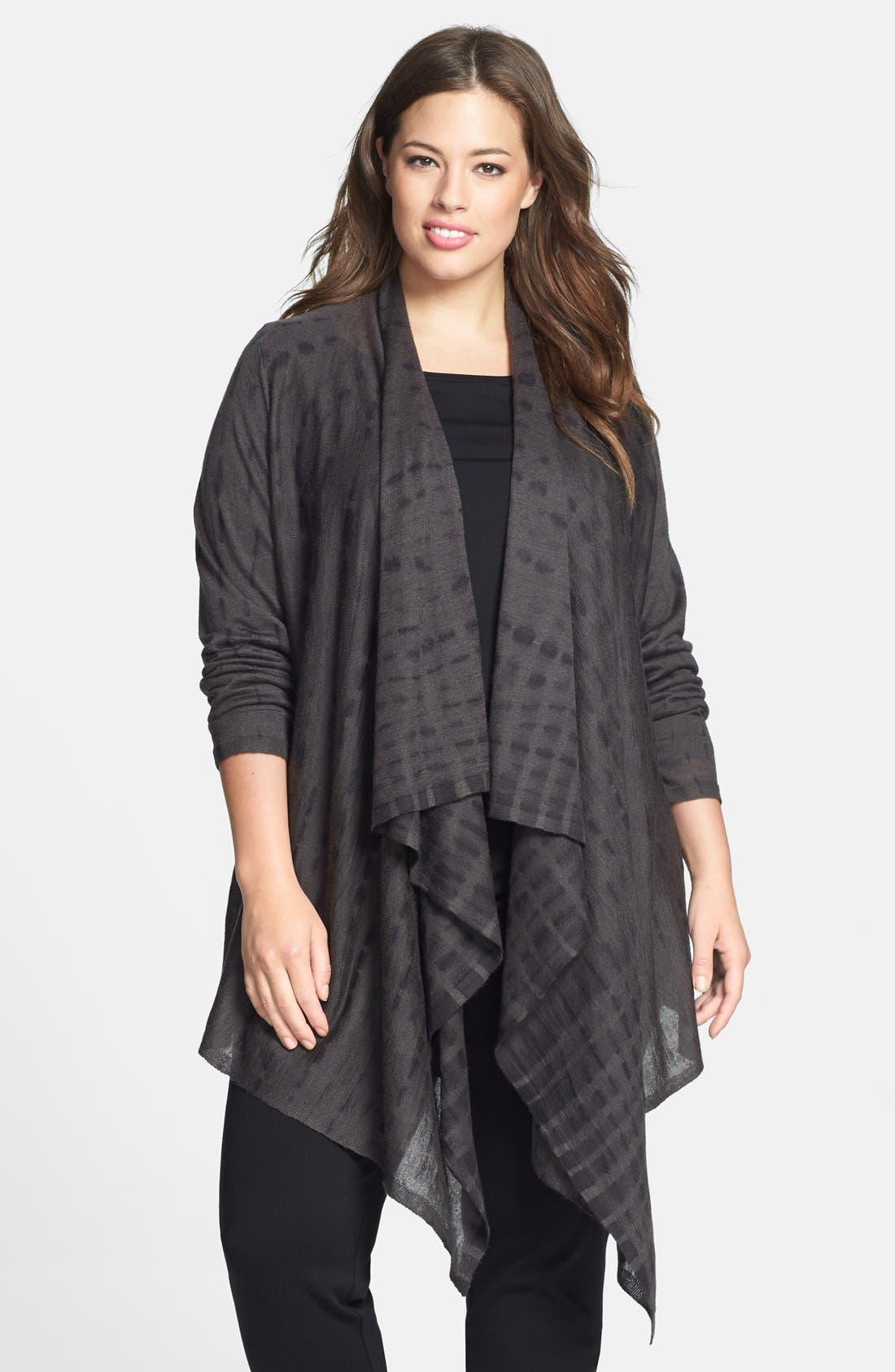 Main Image - Eileen Fisher Tie Dye Alpaca & Silk Cardigan (Plus Size)