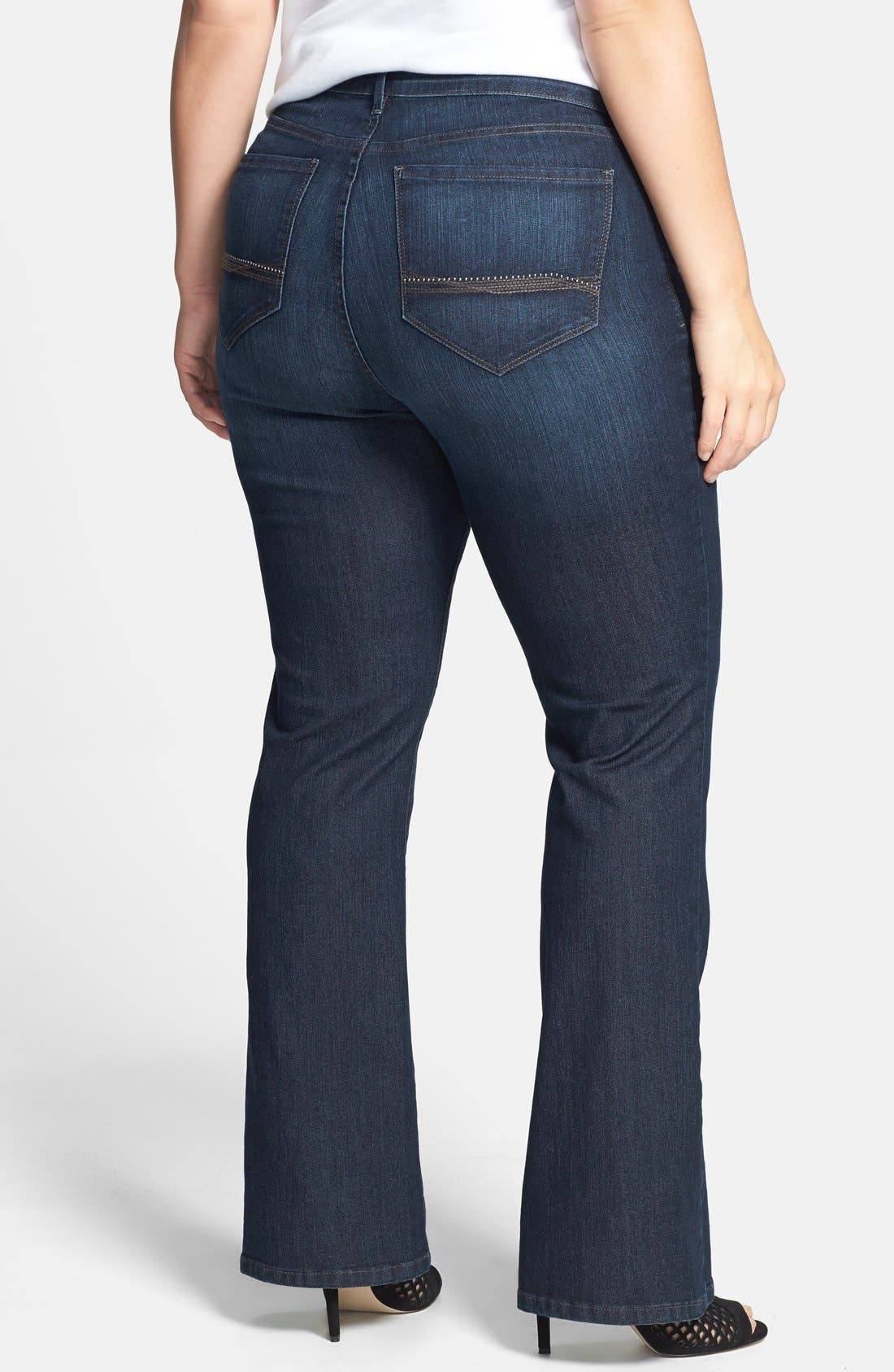 Alternate Image 2  - NYDJ 'Barbara' Embellished Pocket Stretch Bootcut Jeans (Burbank) (Plus Size)