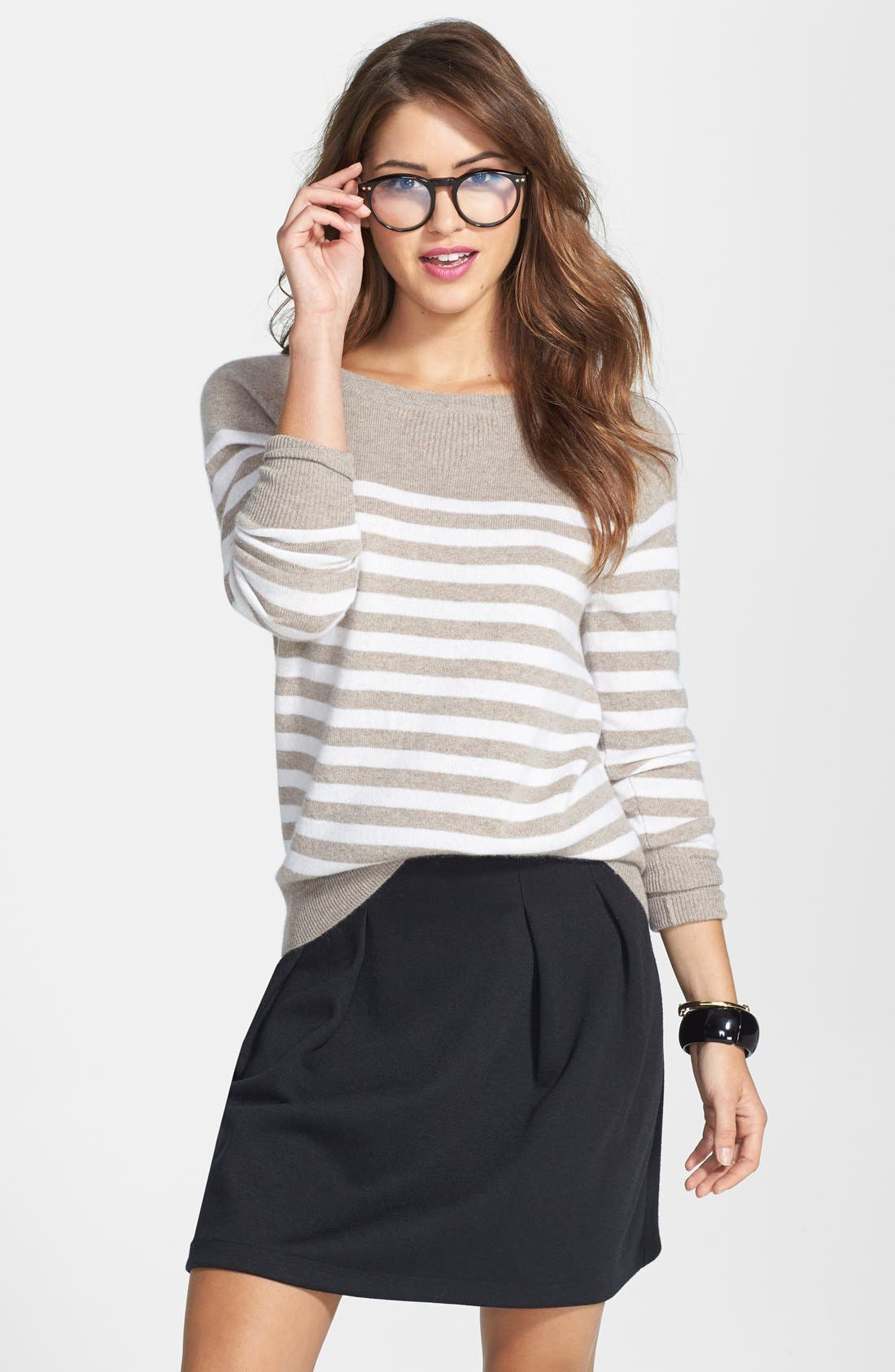 Alternate Image 1 Selected - Halogen® Stripe Cashmere Sweater (Online Only)