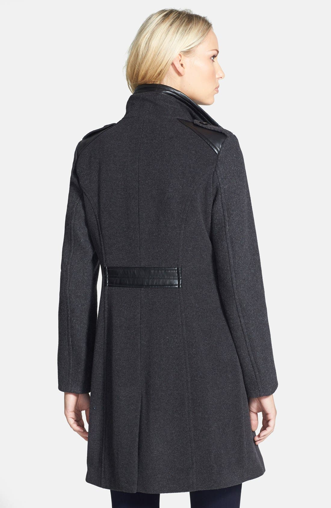 Alternate Image 2  - Cole Haan Faux Leather Trim Textured Wool Coat