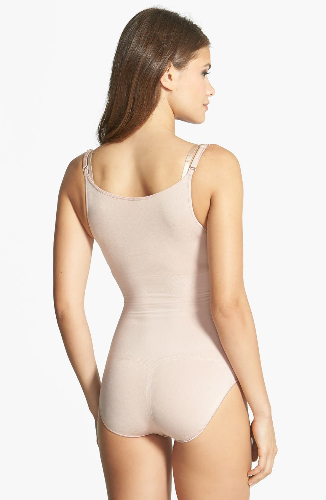 Alternate Image 2  - SPANX® 'Slimmer & Shine' Open Bust Bodysuit