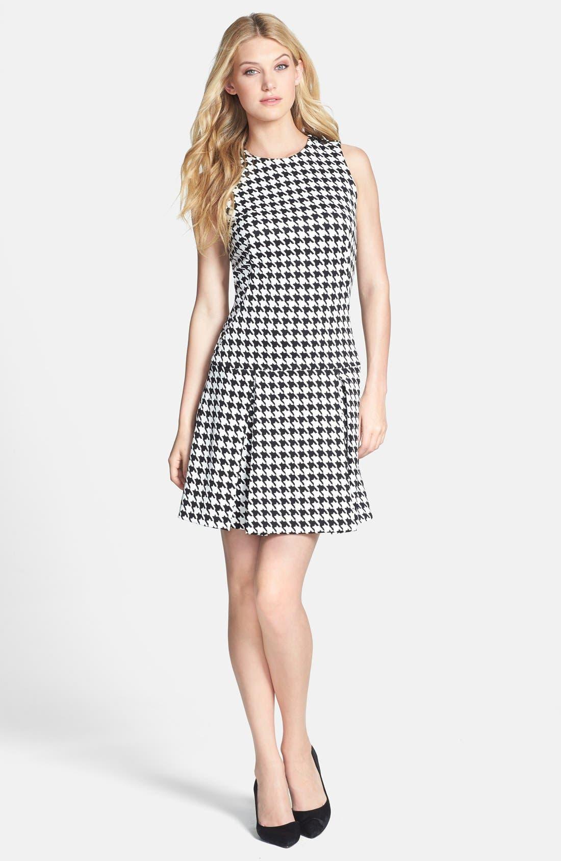 Alternate Image 1 Selected - MICHAEL Michael Kors Zip Shoulder Print Drop Waist Dress (Online Only)