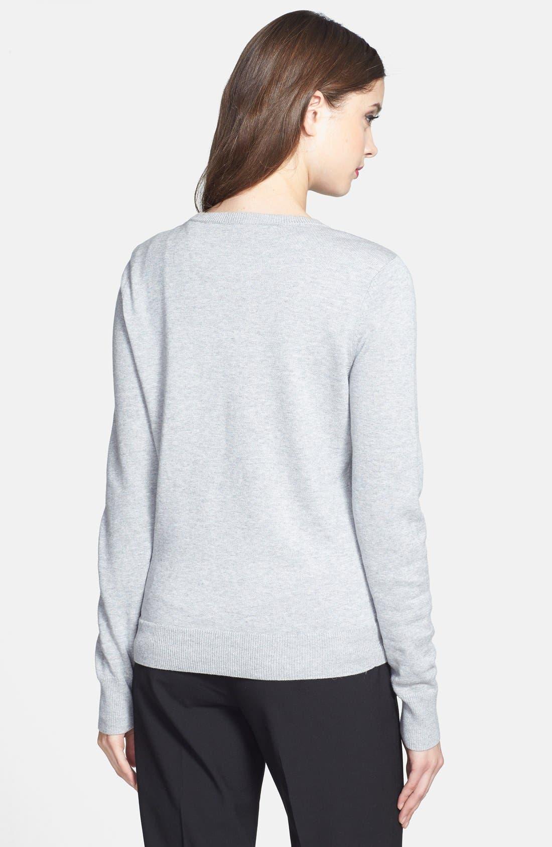 Alternate Image 2  - Halogen® 'Bien' Shoulder Zip Intarsia Sweater (Regular & Petite)