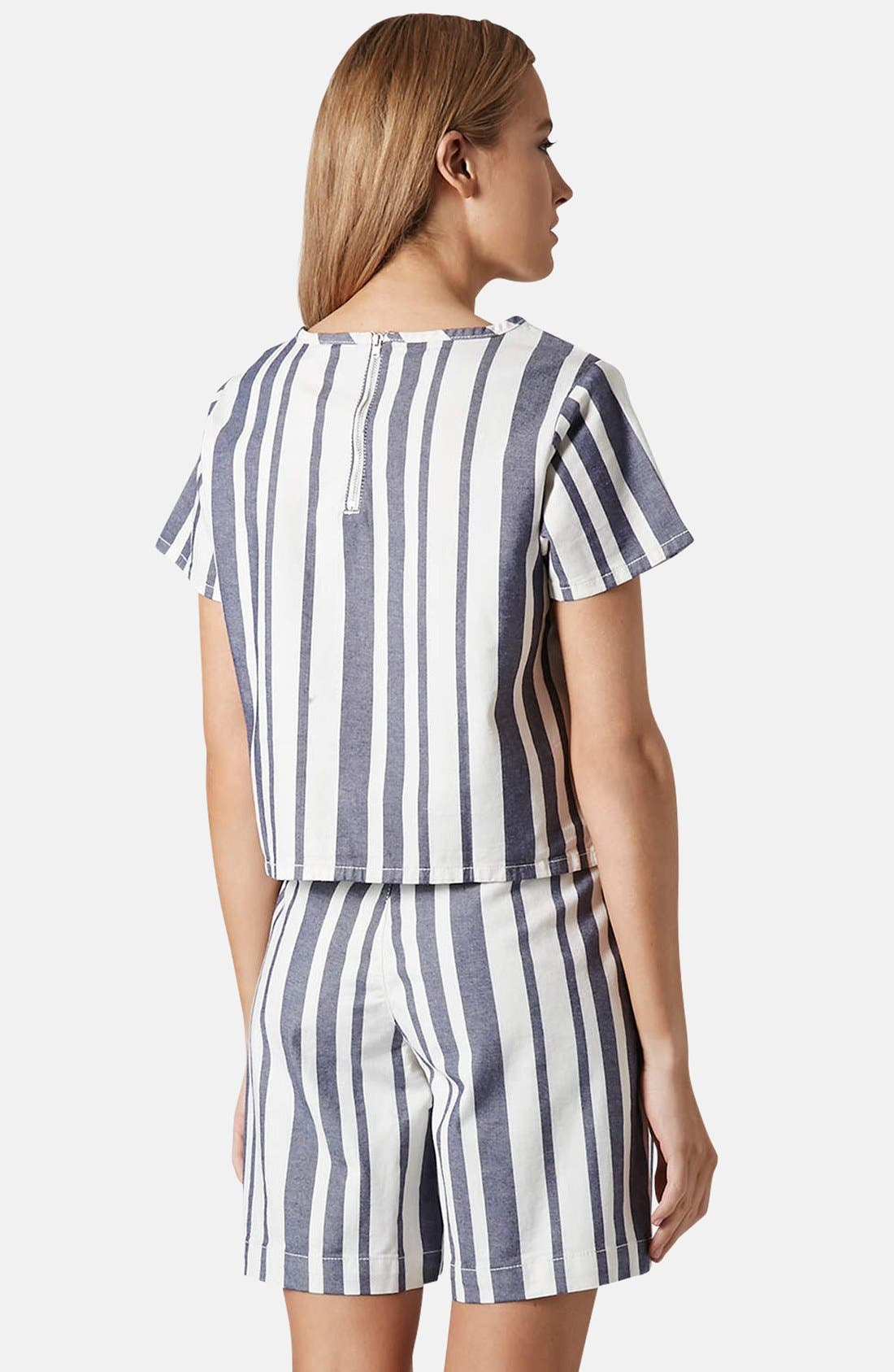 Alternate Image 2  - Topshop Moto Stripe Denim Tee
