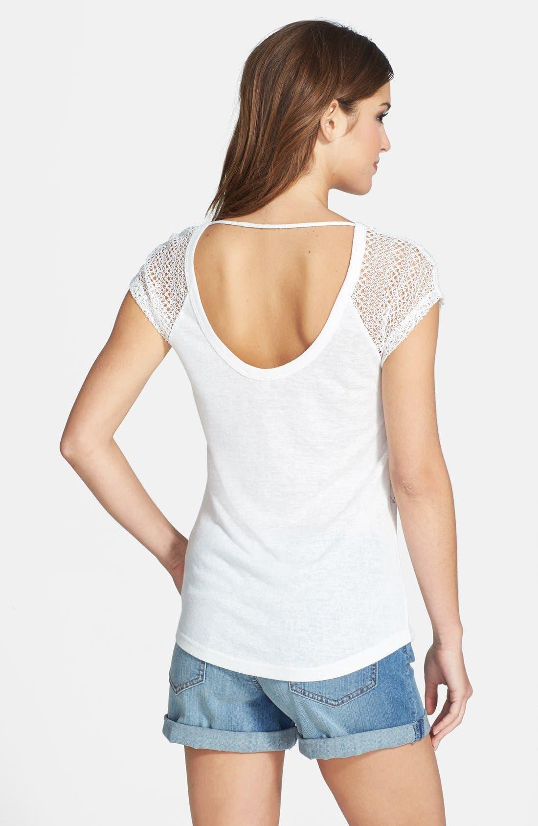 Alternate Image 2  - Miss Me Crochet Sleeve Sequin Top