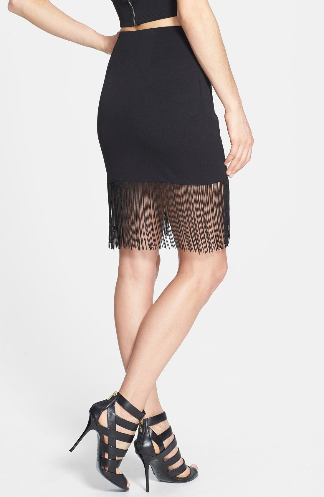 Alternate Image 3  - ASTR Fringed Faux Wrap Skirt