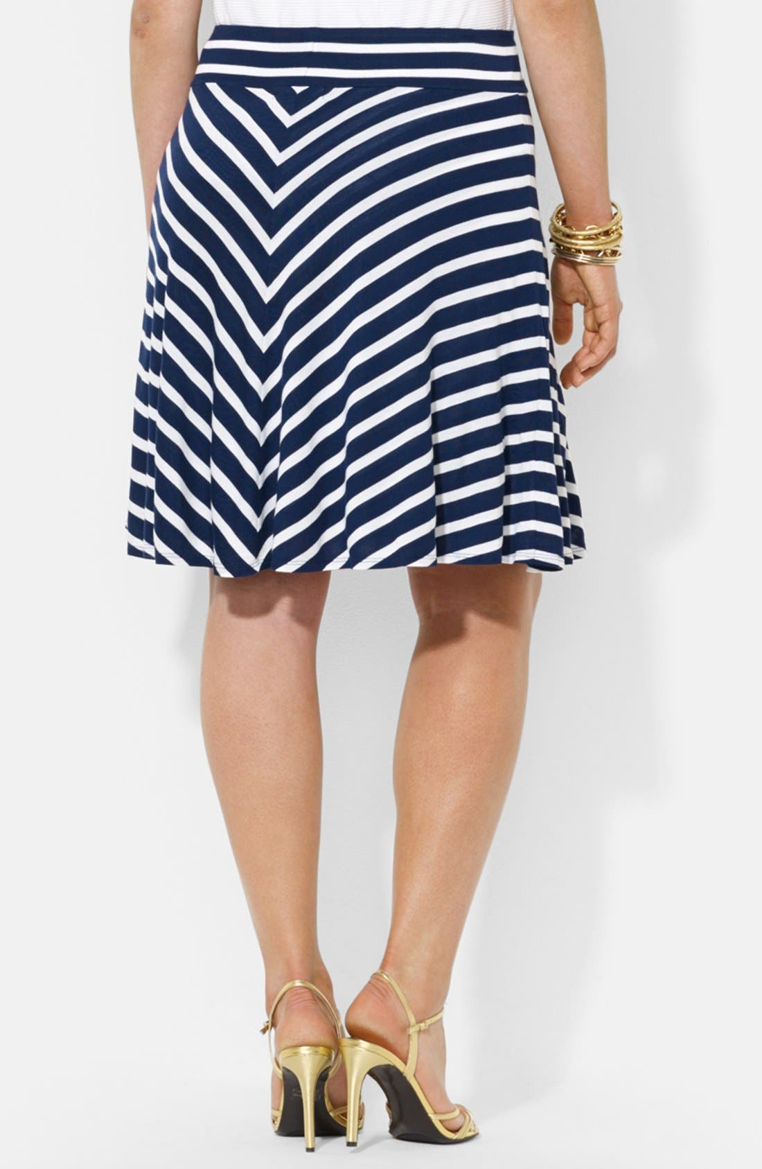 Alternate Image 2  - Lauren Ralph Lauren Stripe Jersey Skirt (Plus Size)