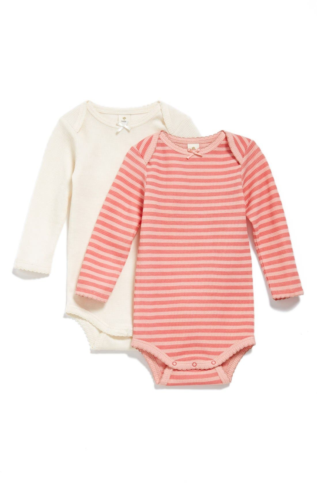 Alternate Image 1 Selected - Tucker + Tate Scallop Trim Waffle Weave Bodysuit (2-Pack) (Baby Girls)
