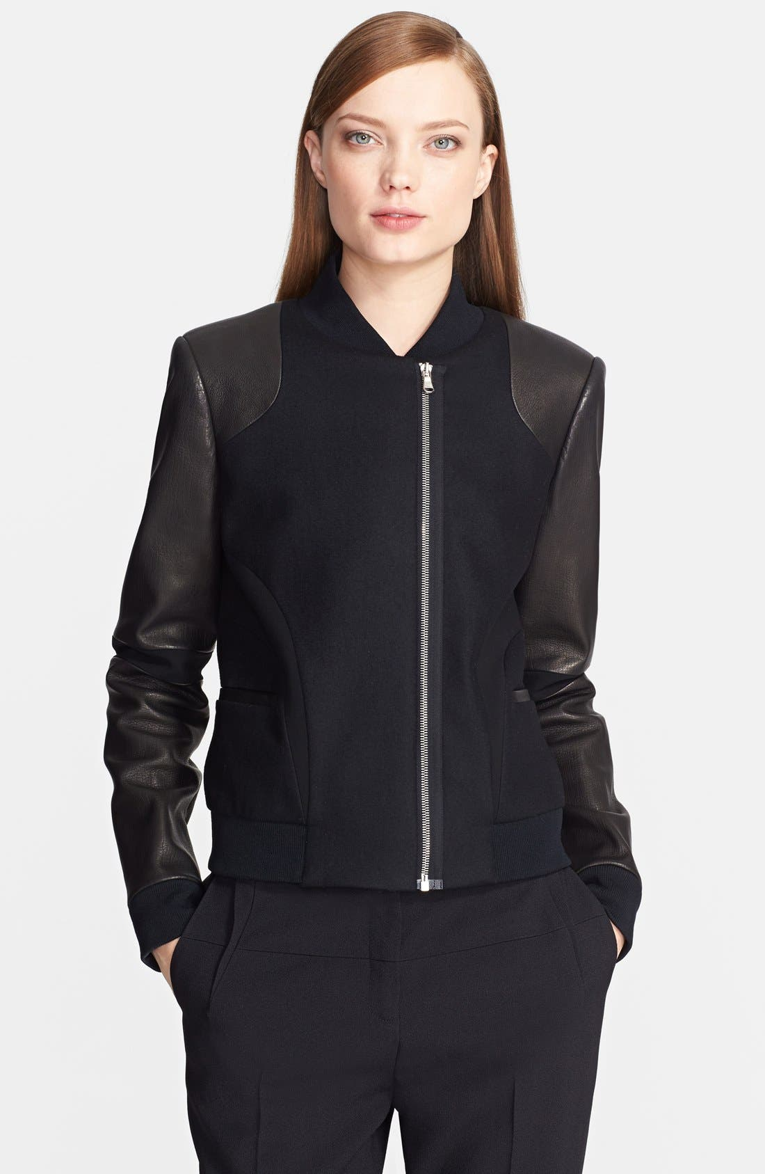 Main Image - Prabal Gurung Leather Sleeve Bomber Jacket