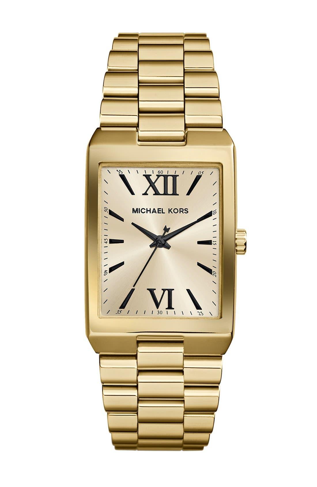 Main Image - Michael Kors 'Nash' Rectangle Bracelet Watch, 34mm