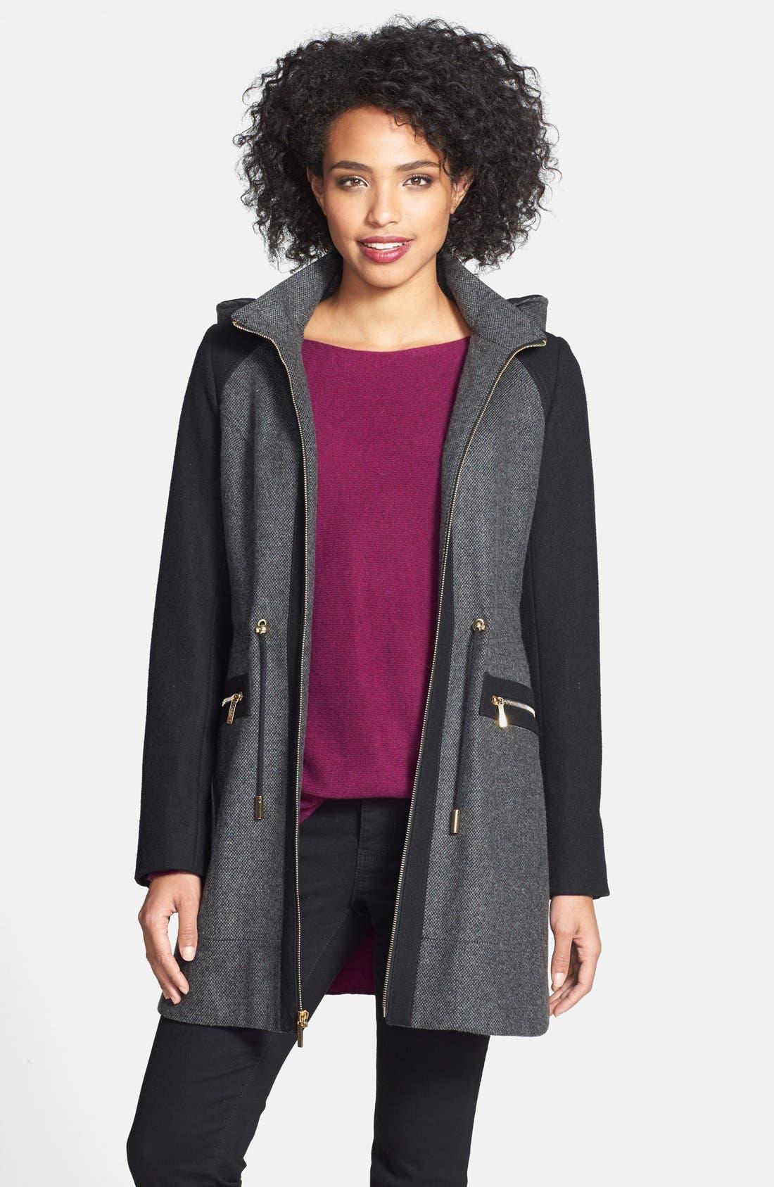 Main Image - Laundry by Shelli Segal Faux Fur Trim Colorblock Tweed Coat