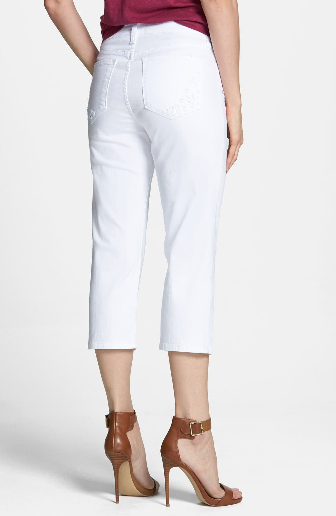 Alternate Image 2  - NYDJ 'Ariel' Embroidered Pocket Stretch Crop Jeans (Optic White) (Petite)