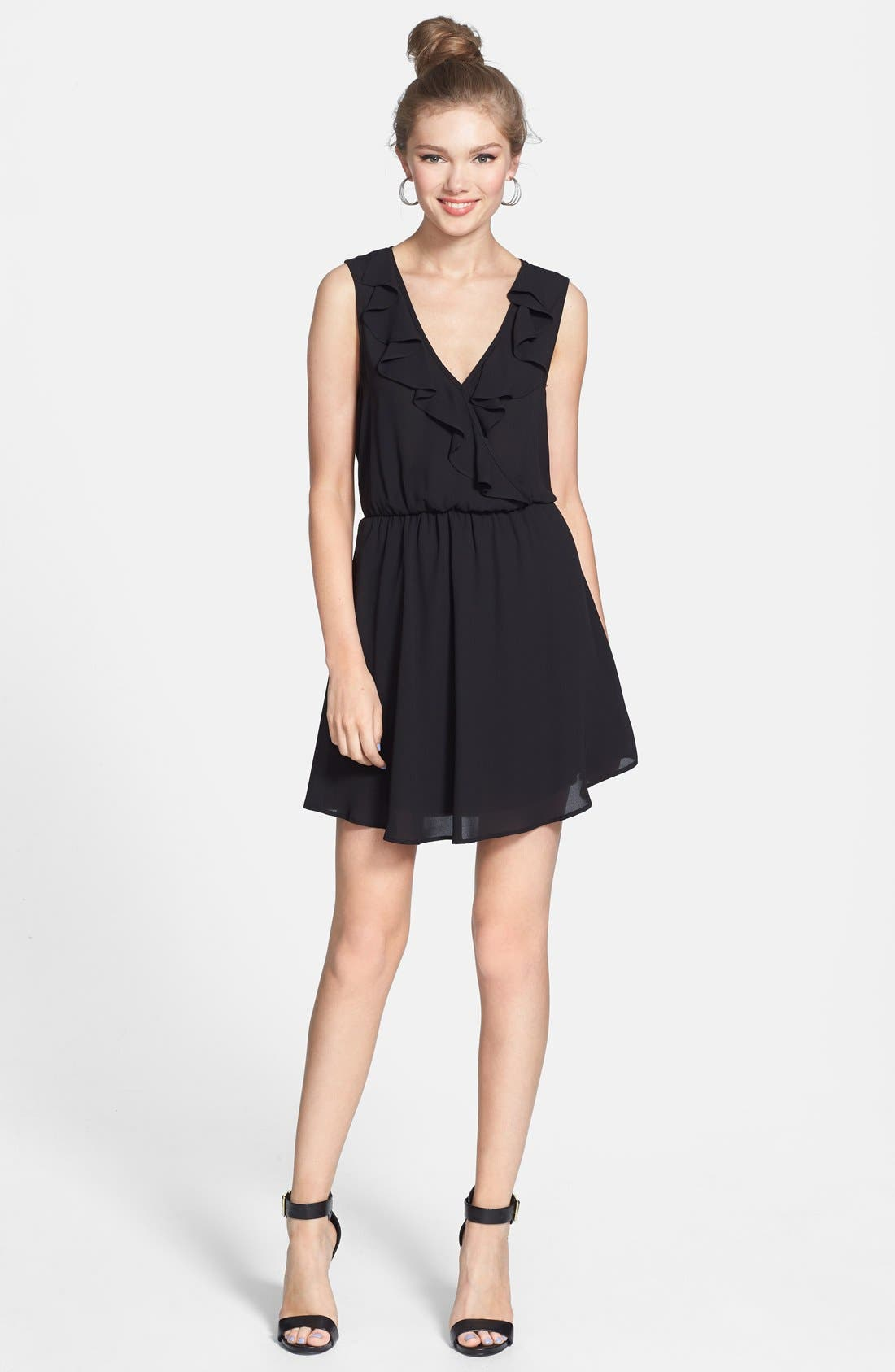 Alternate Image 1 Selected - Lush Ruffle V-Neck Skater Dress (Juniors)